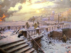 Diorama of the siege of Leningrad