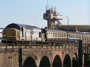 Folkestone Pilot Station towers above the harbour viaduct in October 2007