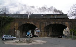Battle of Britain class locomotive 34067 'Tangmere' crosses the Skew Arches on the way to Folkestone East