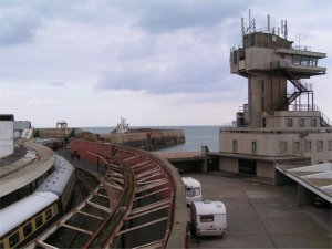 Folkestone Harbour Station and the Pilot House in April 2008