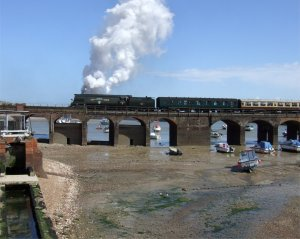 Tangmere hauls the 'Golden Arrow' railtour out of Folkestone Harbour for the second (and final) time