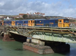 The trio of electro-diesels on the swing bridge