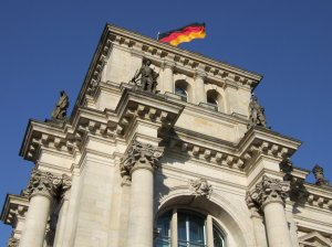 The German flag flies from the Reichstag in Berlin on 2nd October 2008