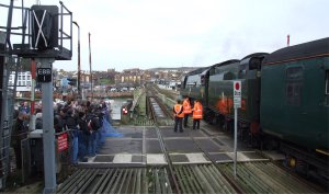 A crowd admires Tangmere at Folkestone Harbour