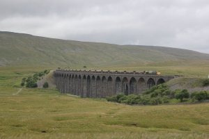 A coal train crosses Ribblehead viaduct on 31st July 2010