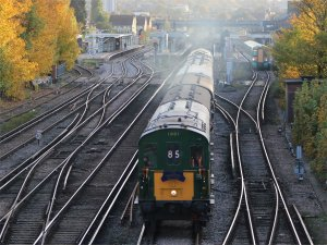 Hastings DEMU 1001 passes through Norwood Junction on 30 October 2010