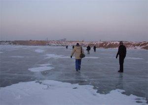 Across frozen ponds...