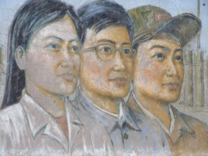 Mural of factory workers in Baiyin