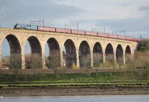 A4 class steam locomotive 60007 'Sir Nigel Gresley' crosses the Royal Border Bridge on 16th April 2011