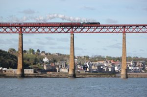 Royal Scot Class steam locomotive 46115 'Scots Guardsman' crosses the Forth Bridge on 17th April 2011