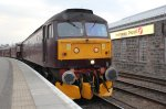 Class 47 diesel 47760 at Inverness with the empty coaches from the Great Britain IV railtour