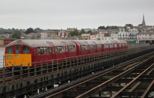 One of the Island Line multiple units on the run from Ryde Pier Head to Ryde Esplanade