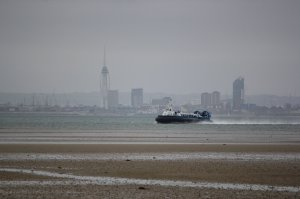 "Hovertravel's AP1-88 ""Island Express"" makes the crossing between Southsea and Ryde"