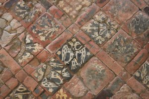 Heraldic tiled floor at Cleeve Abbey