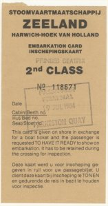 Embarkation card for SMZ Prinses Beatrix