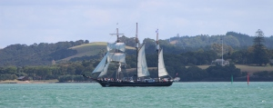 Spirit of New Zealand sails past Waitangi whilst en route to Opua