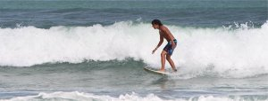 A surfer takes on the waves at Piha