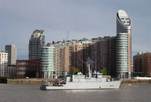 French minesweeper  FS L'Aigle (M647) passes New Providence Wharf