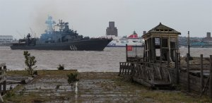 RFS Vice Admiral Kulakov heads out of Liverpool
