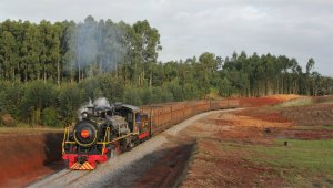 Alco no. 153 passes through a cutting not too far out from Urussanga