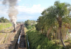 Santa Fe no. 205 makes a spectacular departure from the yard at Eng. Paz Ferreira