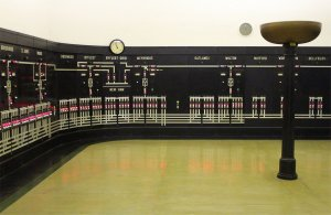 The striking interior of the control room