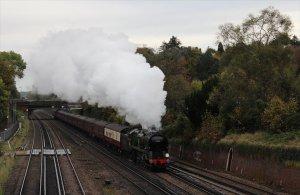 Braunton hauls the Bluebell Explorer through South Croydon on 9th November 2013