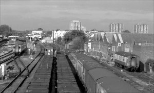 The view north from Tennison Road Bridge circa 1990