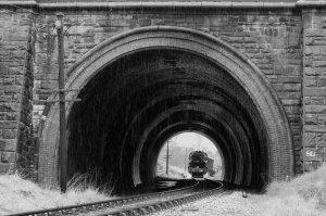Heavy rain at the entrance to Mytholmes Tunnel