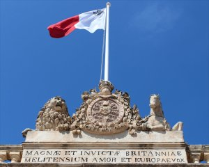 The Maltese Flag flies above St George's Square