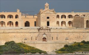 Fort Manoel and the reconstructed Chapel of St Anthony of Padua