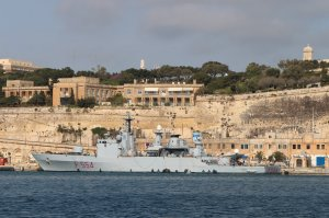 Italian Navy corvette Sfinge (F554) berthed at Pinto 4 Wharf, Valletta