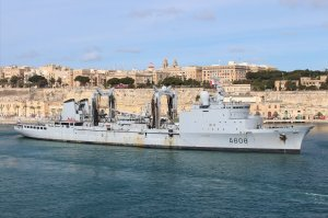 French Navy replenishment tanker VAR (A608) makes her way out of the Grand Harbour