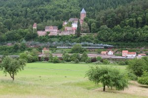 A Class 01 Pacific passes Zwingenberg Castle on Friday 30th May 2014