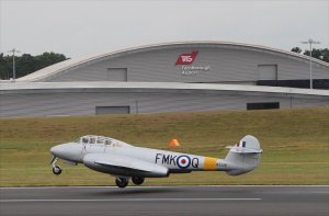 Gloster Meteor WA591 takes off at Farnborough