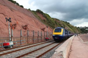 A First Great Western HST passes the location of the landslip