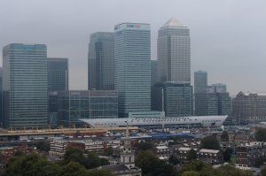 Canary Wharf Crossrail Station, as seen from Balfron Tower