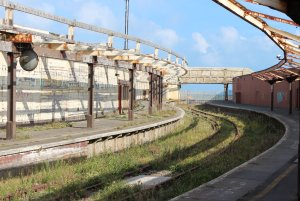 The skeletal remains of Folkestone Harbour Station on 13th September 2014