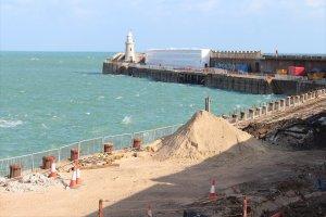Work progresses on the pier at Folkestone Harbour