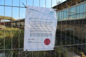 The closure ratification notice posted at Folkestone