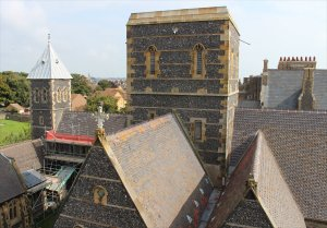 The unfinished square tower of St Augustine's Church