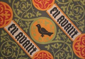 Pugin's wallpaper designs included the family motto 'en avant' (forward)