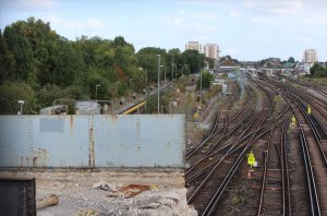 The part demolished bridge on 20th September 2014