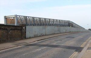 The temporary footbridge alongside the doomed bridge