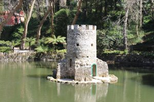 One of two castellated duck houses in the park