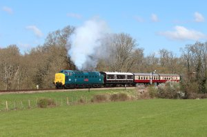 55019 Royal Highland Fusilier hauls a late morning service away from Horsted Keynes
