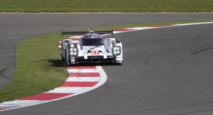 Mark Webber took an early lead in the #17 Porsche Hybrid