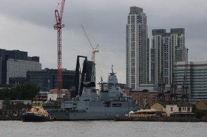 F219 Sachsen leaves West India Docks