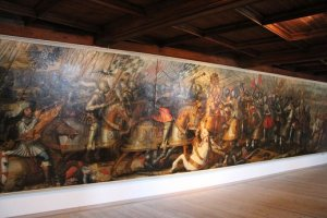 The 11 metre long painting of the Battle of Mühldorf in 1322.