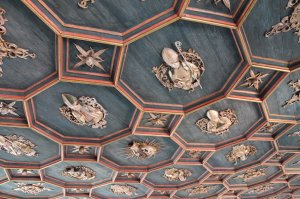 The carved wooden ceiling in the great Knight's Hall of the Hohes Schloss